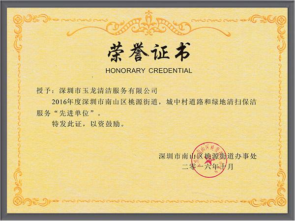 玉龙环保-2016年度桃源街道先进单位荣誉证书