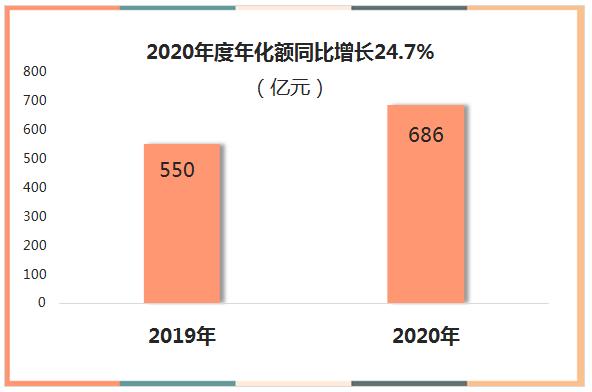 22020年度年化额同比增长24.7%