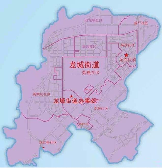 龙城街道行政区划图